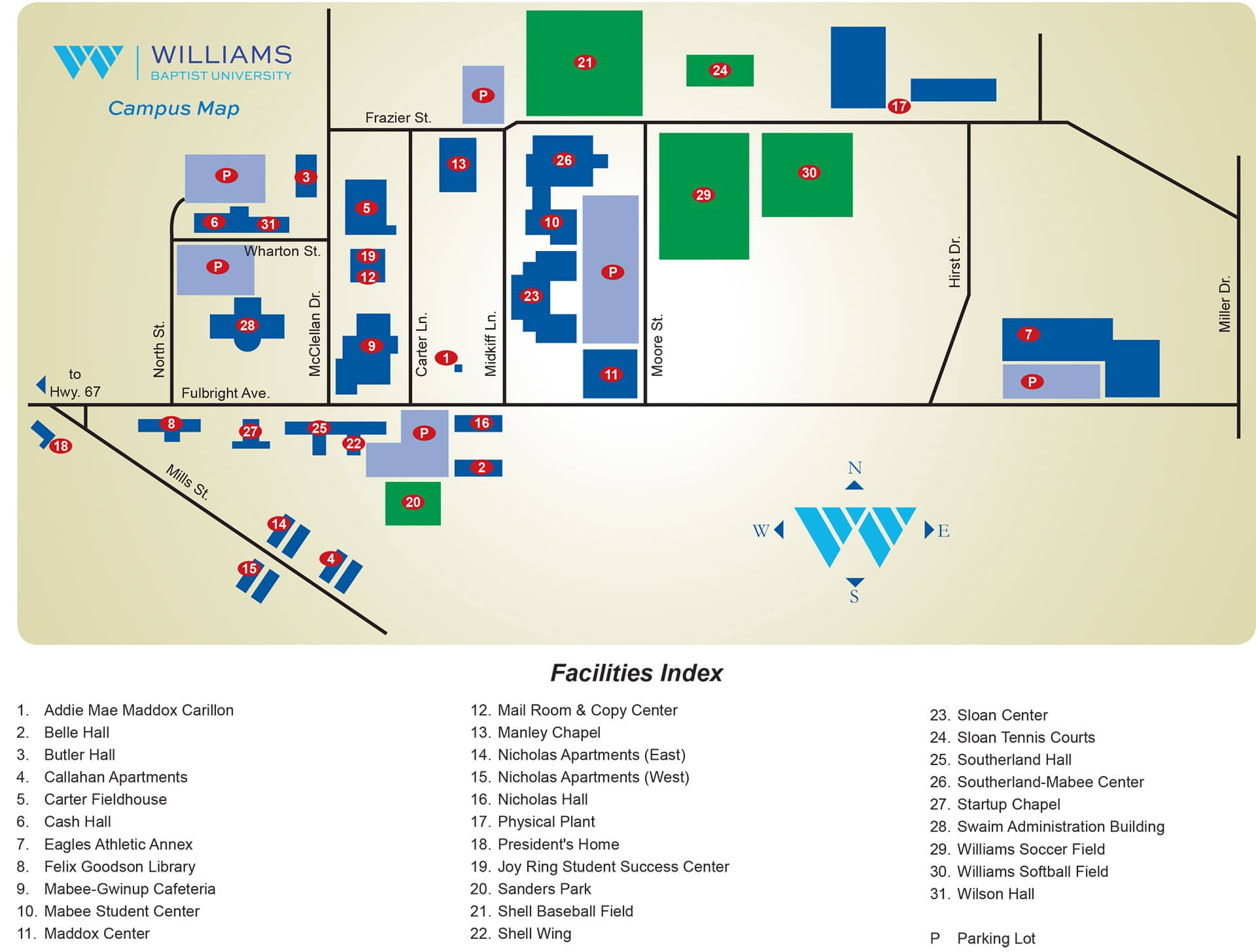 Campus Map Williams Baptist University